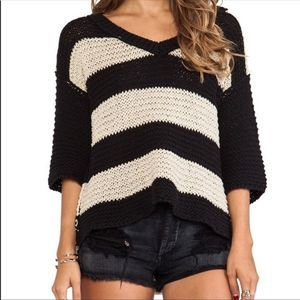 Free People Park Slope Sweater-Black/Hemp Combo SM